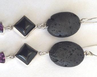 Essential Oil Carrier Volcanic Lava Stone Black Onyx Amethyst 925 Sterling Silver Earrings E982