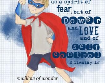 SUPER BOY 2 Timothy 1:7 Power Super Hero Scripture Print Boy's Room Illustration