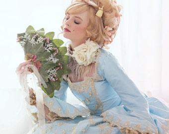 Bridal Headpiece, Hair Comb, Bridal Hair Chain, Rococo Head Chain, Gold Pearl Hair Chain, Gold Draped Hair Comb, Marie Antoinette ANTOINETTE
