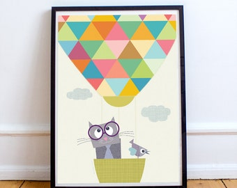 Hot air balloon nursery decor, baby animal prints, baby nursery decor, baby room decor, kids art print, kids wall Art, children decor