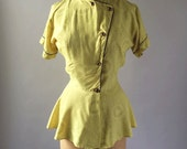 RESERVED // Vintage 1940s Canary Yellow Printed Rayon Peplum Blouse Circles