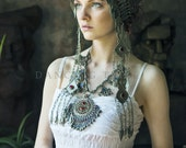 Tribal Headdress with Tassels Tribal Crown Ethnic Metal Headdress Tribal Headpiece Gypsy Princess Festival Headpiece Ethnic Turkoman Jewelry