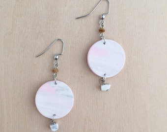 Pink Morning Charm Earrings - Clay Earrings - Bohemian Jewelry