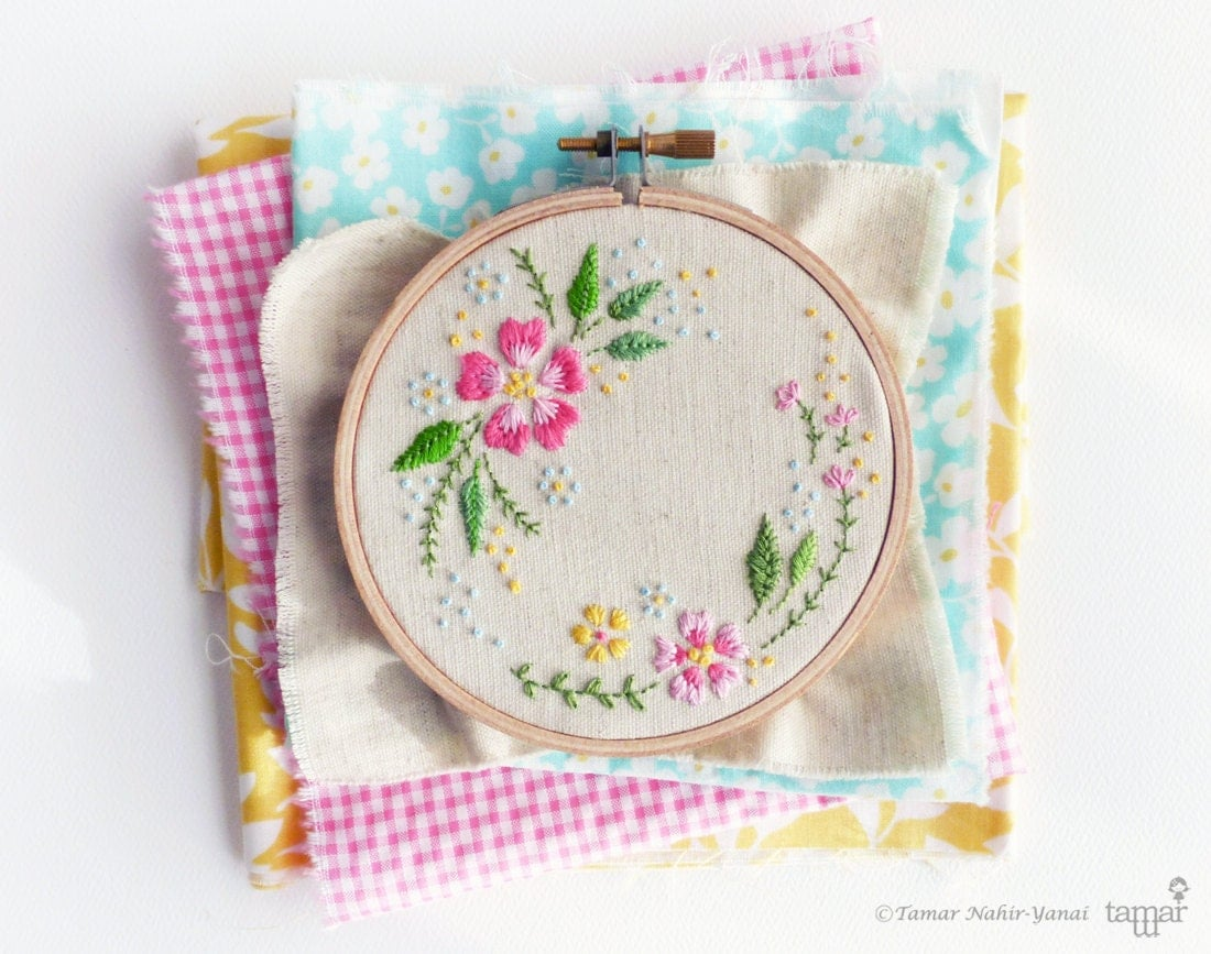 Embroidery kit diy hand circle of flowers