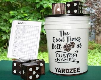 YARDzee PERSONALIZED yahtzee, Christmas gift, wedding game, giant Yahtzee, yard dice, Yatzee lawn dice, Hostess, New House warming gift