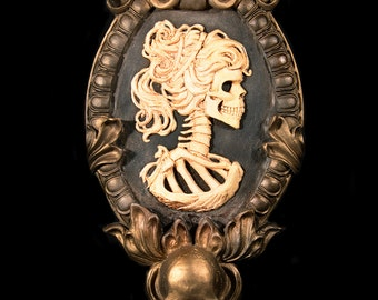 Gothic Victorian Lady Skeleton Cameo bone white in gold tone frame Wall Art