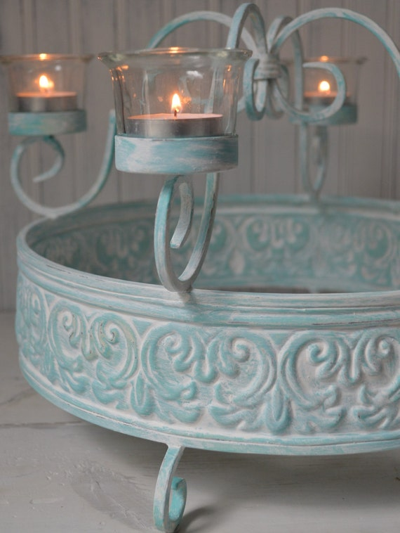 Shabby Chic Candle Holder Turquoise White Wash Centerpiece Coastal Decor