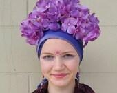 Frida Inspired Floral Crown, Purple Hydrangea Headpiece, Frida Kahlo, Alice in Wonderland Flower Costume, Ukrainian Crown, Bohemian Bride