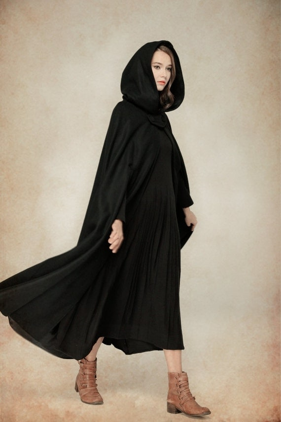 flare wool coat jacket black hooded cloak winter cape black