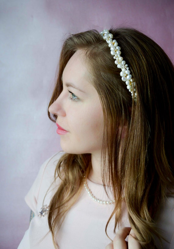 Bridal Headband - Wedding Headpiece - Wedding Hair Accessories- Pearls & Crystals