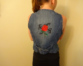 Women's sleeveless denim jacket embroidered tribal design with rose size Small to medium