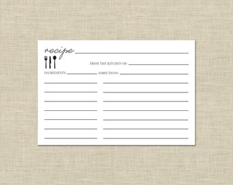 Utensils Recipe Card- Printable Digital Download, Instant Download