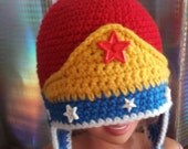 Crochet Wonder Woman Inspired Ear Flap Hat/beanie - Kids- Adult - Super Hero Hat - Red and Blue Hat - Marvel comics-Girls- Toddler