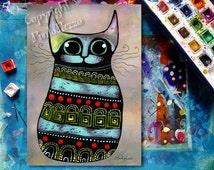 Cat art Totem,spiritual art,original painting on paper,cat lovers gift,whimsical cat,shamanism