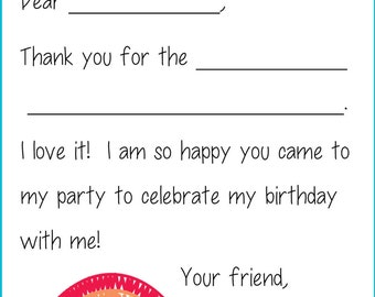 Kids Fill In the Blank Thank You Cards for Girls (Whimsy: Rainbow, Heart, Peace Signs, Flowers)