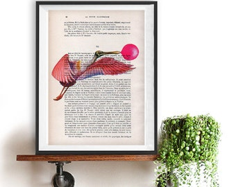 Bird Bubblegum Art Print over an upcycled vintage dictionary page book Woodland art print Christmas Gift Illustration Human Body Animal