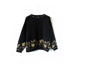vintage sparkly gold sweater - floral - dots - metallic gold-  january jumper - medium