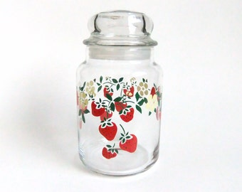 Strawberry Canister, Strawberry Glass Jar, Strawberries and Yellow Flowers, Retro Kitchen Decor, Vintage Canister, Glass Candy Jar