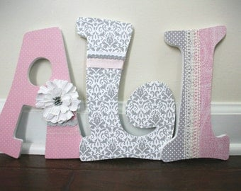 Deluxe Wooden Nursery Letters - Baby Girl Nursery Decor - Wall Letters, pink, grey - Vintage Lace and Pearls - Baby Shower Gift - Elegant