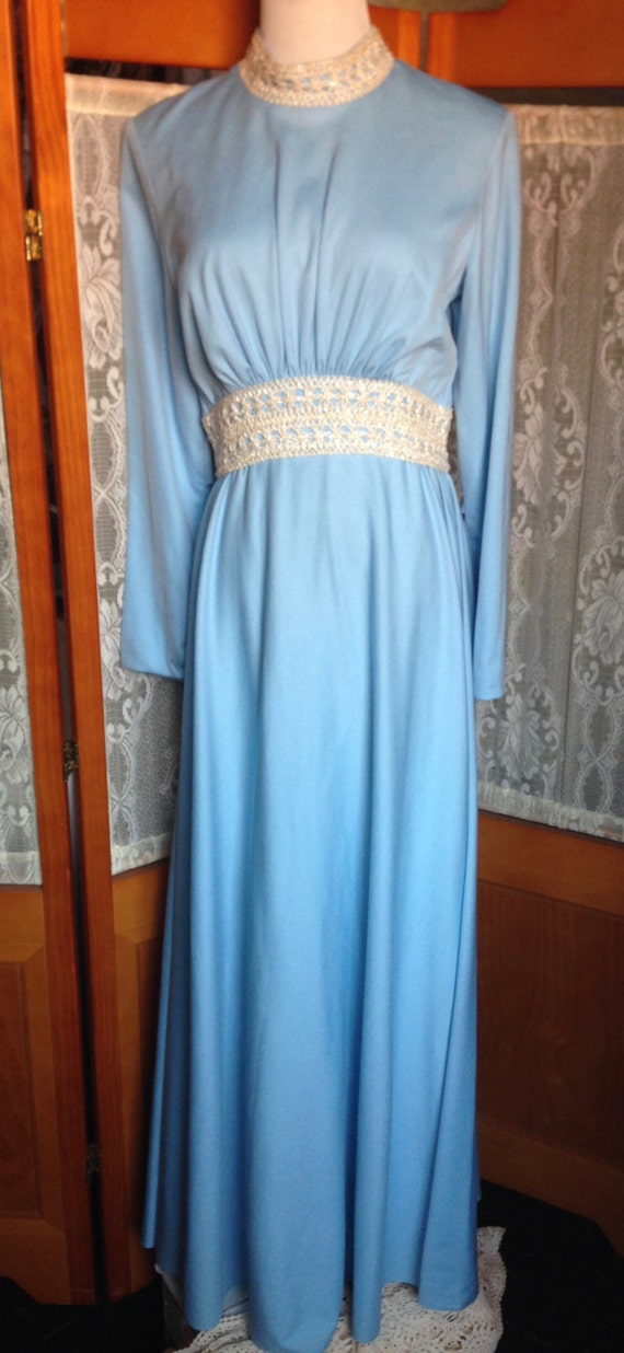 SALE! Vintage Light Blue Polyester Long Sleeve Long Dress with Beaded Cord Waist & Collar Lined  Size Medium