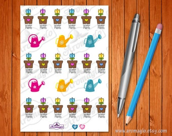 Water the Plants Stickers. 18 Coloured Pot Plant Icons and 6 Watering Cans. Filofax, Erin Condren, Kikki K planners, calendars, notebooks