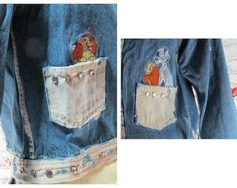 Denim jacket - Disney clothing - jean jacket -  Disney Denim Jacket - upcycled denim jacket - Lady and the Tramp clothing -   # 107