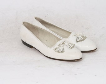 Cole Haan Womens US 9.5 AA White Leather Loafers Flats AU 8 Vintage Made in Italy Shoes