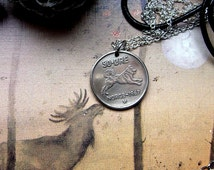 Norwegian Elkhound Spitz necklace, Dog keychain, 1961 coin, 1962, 1964, 1967, 1969 coin, Norse jewellery, Norway necklace, Coin jewellery