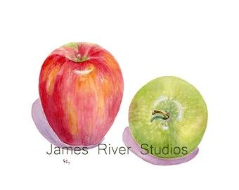 Apple Watercolor Painting Apple Art Print Red Apple Painting Green Apple Print Fruit Art Apple Kitchen Art Apple Fruit Painting Fruit Print.