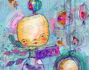Growth, archival art print, mixed media art painting
