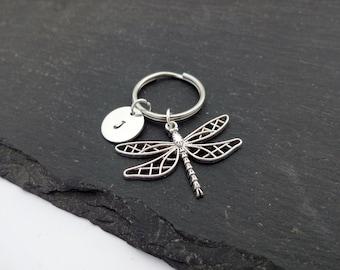 Dragonfly Keychain, Initial Dragonfly Keyring, Hand Stamped Keyring, Dragonfly Keyring, Charm Keyring, Personalised Keyring, Dragonfly Gift