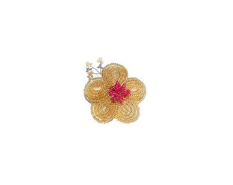 1pc Beaded Flower Hair Clip on French Barrette with Spray. Gold & Pink Hair Clip Accessory for Toddler Baby Girl Teen. French Beaded Flower
