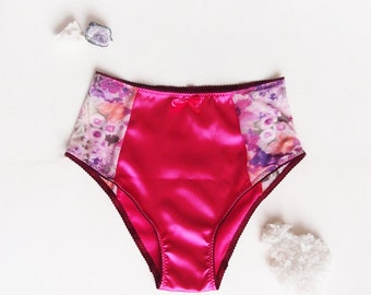 Fuchsia Satin Knickers with Sheer Sides, Satin Panties, Bright Satin Lingerie, French Cut Panties - Satin & Mesh