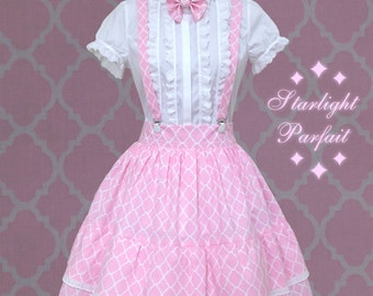 Cute Pink Jumper Skirt With Neck Bow  | Kawaii, Harajuku, Fairy-kei, Sweet Lolita | Ready To Ship | Women's Size: SM