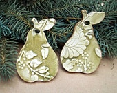 TWO Ceramic Pear Christmas Ornaments Holiday Decor Sage edged in gold