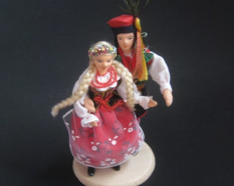 Vintage Polish Dancers Dolls with detailed clothing made in Poland