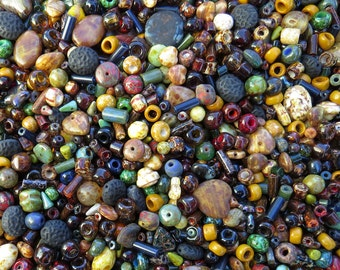 15mm to 3mm Fall Bead Soup Mix Different Shapes and Sizes Czech Glass Beads 40 Grams (AS21) SE