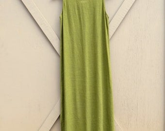 90s vintage Woven Olive Green Sleeveless Linen Blend Long Dress / Dressing Clio