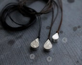 Small 3D Droplet hollow pendant cord necklace