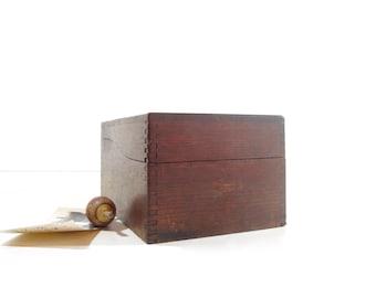 Vintage Wood Card File Box / Office Decor