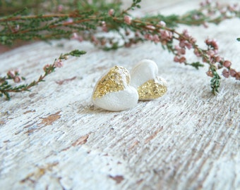 White gold stud earrings polymer clay jewelry heart earrings bridesmaid gift resin earrings wedding earrings bridal earrings gold earrings
