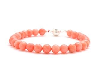 Pink Coral Bracelet/ Silver Coral Bracelet/ Pink Friendship Bracelet/ Pink Bead Bracelet/ Pink Coral Jewelry