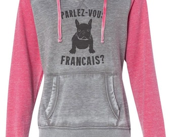 "FRENCH BULLDOG CLOTHING Hoodie ""Parlez-vous Francais? French Bulldog Hoodie French Bulldog Sweater Dog Sweater french bulldog sweatshirt"