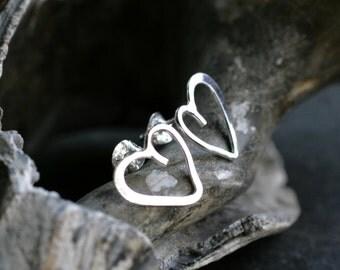 silver heart studs simple heart earrings minimalist earrings modern jewelry small everyday earrings sterling post earrings HEART STUDS