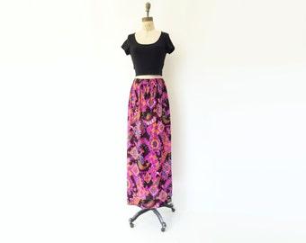 1970s Maxi Skirt Vintage Maxi Skirt Psychedelic Skirt Neon Paisley Skirt Pink Purple Skirt 70s Neon Maxi Skirt 70s Psychedelic Maxi m