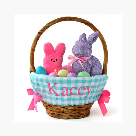 Personalized Easter Basket Liner Aqua Gingham By