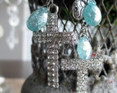EARRINGS - rhinestone crosses roses vintage links aqua blue gemstones charms dangle drop catholic, the french circus by robyn parrish