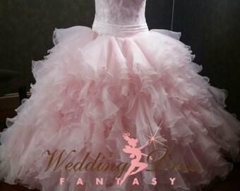 Fairy Tale Princess Wedding Dress in Blush Pink Organza Strapless Pink Bridal Ballgown Princess Style Extra Full