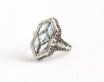 Sale - Antique 14k White Gold Aquamarine Butterfly Filigree Ring - Size 5 Vintage Art Deco 1920s Blue March Gemstone Fine Shield Jewelry