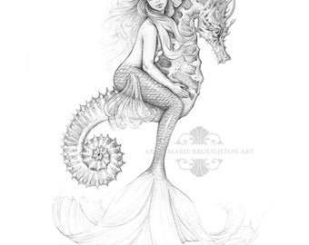 8x10 inch PRINT Mermaid Riding Seahorse Art Pencil Drawing Tattoo Coastal Island Home Wall Art Decor Signed